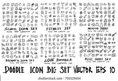 MEGA set of icon doodles of school, fitness, wedding, business, love, music