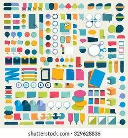 Mega set infographics flat design elements, schemes, charts, buttons, speech bubbles, stickers. Vector illustration.