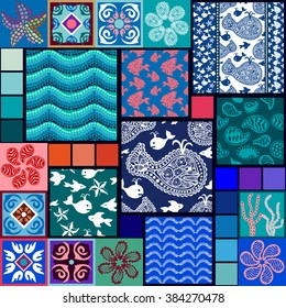 Mega set of marine patterns. Hand drawn doodle whales and fishes, mosaic waves, paisley ornaments, corals. Ethnic borders, fantasy bohemian flowers, ceramic tile. Sea textile collection. Blue palette.