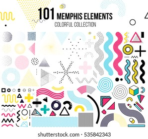 Mega set of memphis design elements, template for your project, animation, and, advertising, advertisement, commercial banner, poster, t-shirt. Big colorful vector collection