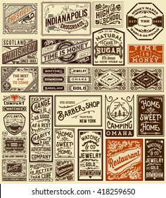 Mega set of old advertisement designs and labels - Vintage illustration