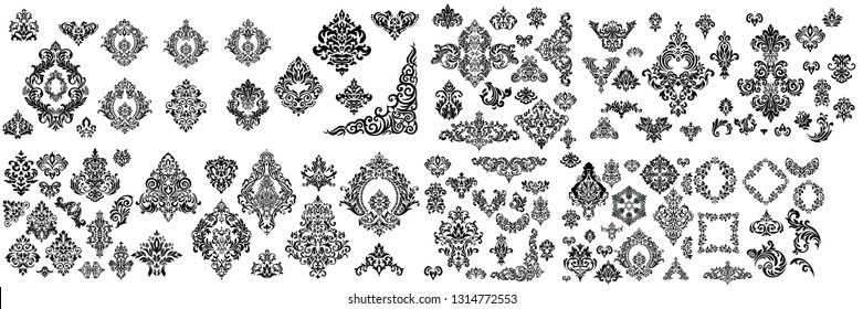 Mega Set of Oriental vector damask patterns for greeting cards and wedding invitations.