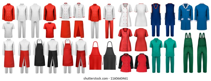 Mega set of overalls with worker and shefcooks and medical clothes. Design template. Vector illustration.