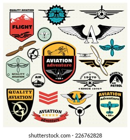 Mega Set of retro emblems, design elements , badges and logo patches on the theme aviation