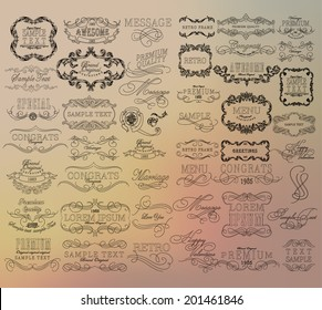 Mega set of thin Line frames and scroll elements. Set of calligraphic and floral design elements