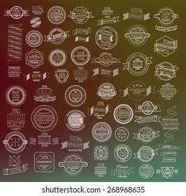 Mega set of thin lineretro vintage ribbons and label