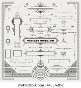 Mega set, vintage graphic elements,
