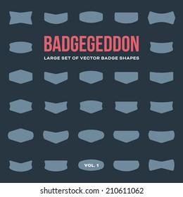 Mega set of vintage vector badge shapes, collection of design elements for creating retro logos (volume 1)