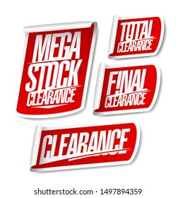Mega stock clearance, total and final clearance, sale stickers set