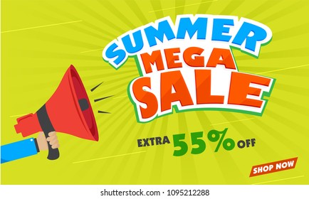 Mega Summer Sale Background with stylish text and loudspeaker on green rays background.