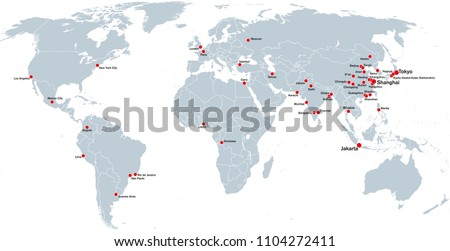 Megacities World Political Map Largest Cities Stock Vector (Royalty ...