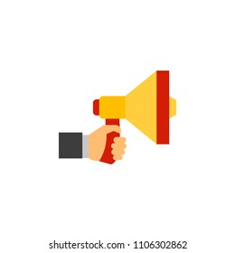 Megafone isolated vector. Megaphone icon, speaker for announcement, megafone communication illustration
