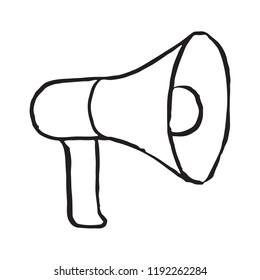Megafone storage doodle icon. Vector illustration