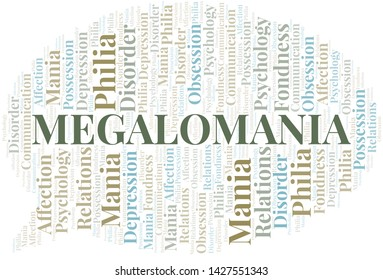 Megalomania word cloud. Type of mania, made with text only.