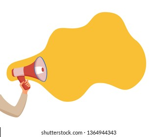 Megaphone announcement vector cartoon style concept with speech bubble. Hand holding loudspeaker attention with important information, advertisement, sale design concept. Design text template.