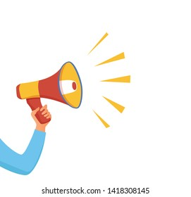 Megaphone announcement vector cartoon style illustration  with speech bubble. Hand holding loudspeaker attention with important information, advertisement, sale design concept. Design text template.