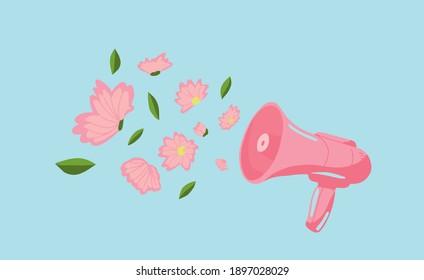 Megaphone announces spring. Speaker with flowers. Spring vibes. Sommer or spring concept idea. Sommer Print
