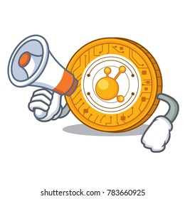 With megaphone BitConnect coin character cartoon