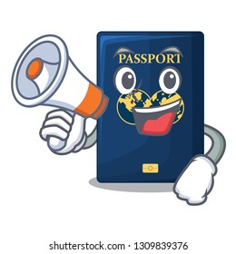 With megaphone blue passport in the cartoon form