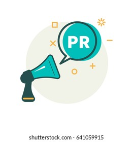 Megaphone and bubble that says PR. Vector illustration
