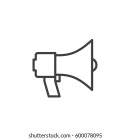 Megaphone, bullhorn line icon, outline vector sign, linear style pictogram isolated on white. Announcement symbol, logo illustration. Editable stroke. Pixel perfect