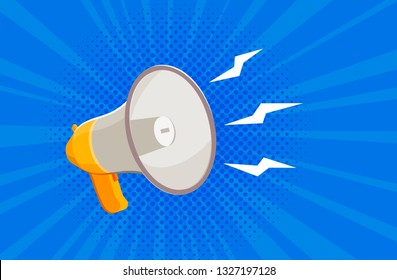 Megaphone, bullhorn. News, attention banner. Vector illustration