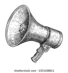 Megaphone, bullhorn sketch. Hand drawn vector illustration. Vintage engraved style. Isolated on white.