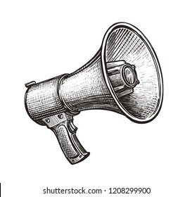 Megaphone, bullhorn sketch. Hand-drawn vintage vector illustration