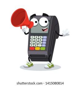 With megaphone cartoon EDC card swipe machine character mascot on white background