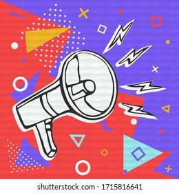 Megaphone cartoon illustration, idea communication concept in trendy colorful style for social media or announcement event.