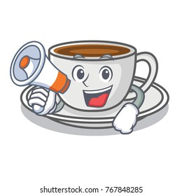 With megaphone coffee character cartoon style