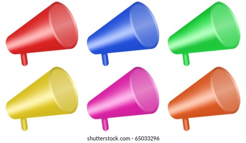 megaphone colored icons - vector - eps 10