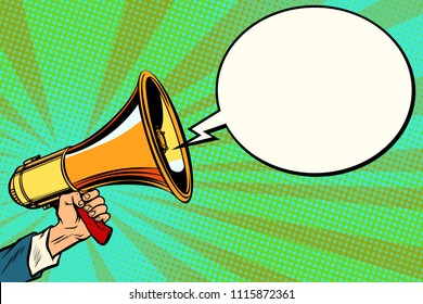 megaphone and comic bubble. Pop art retro vector vintage kitsch illustration drawing