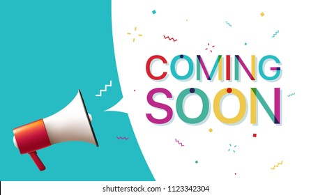 "Megaphone with ""Coming Soon"" Speech Bubble"
