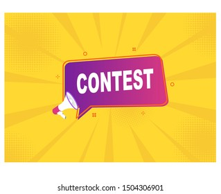 megaphone with contest speech bubble.banner for business.
