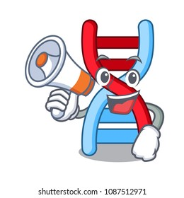 With megaphone dna molecule character cartoon