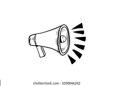 megaphone doodle icon vector drawing