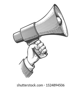 Megaphone engraving. Propaganda retro concept, vintage announcements sketch, screaming bullhorn advertising, sound amplifier in hand hand drawn image