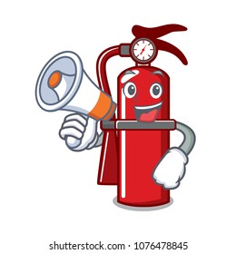 With megaphone fire extinguisher character cartoon