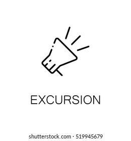 Megaphone flat icon. Single high quality outline symbol of tourism for web design or mobile app. Thin line signs of travel for design logo, visit card, etc. Outline pictogram of excursion
