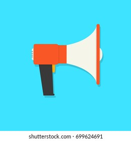 Megaphone, flat loudspeaker icon color. Megaphone sign icon. Megafon symbol. Vector illustration. EPS 10