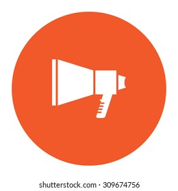 Megaphone. Flat white symbol in the orange circle. Vector illustration icon