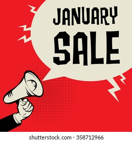 Megaphone Hand, business concept with text January Sale, vector illustration