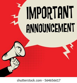 Megaphone Hand business concept with text Important Announcement, vector illustration
