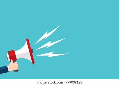 Megaphone in hand flat vector image illustration art esp isolated on blue background cartoon
