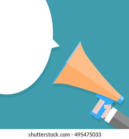 Megaphone in hand and speech bubble. Speaker and announcement, megafone and communication. Vector illustration
