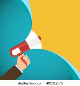 Megaphone in human hand. Marketing and promotions. Democracy and elections. Stock vector illustration.