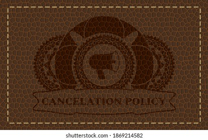 megaphone icon and cancelation policy text leather emblem. Wallet graceful background. Illustration.