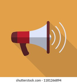 Megaphone Icon Flat Design with Long Shadow