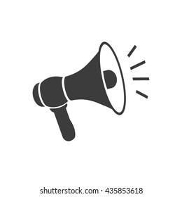 Megaphone icon. Flat vector illustration in black on white background. EPS 10